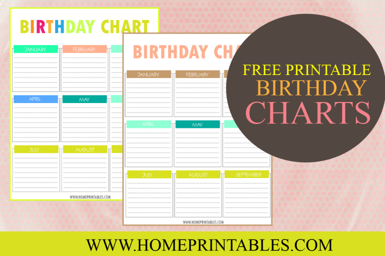 Your Free Printable Birthday Chart