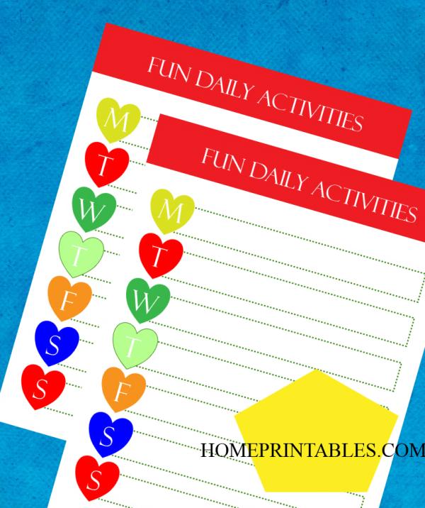 kids daily fun chart free printable