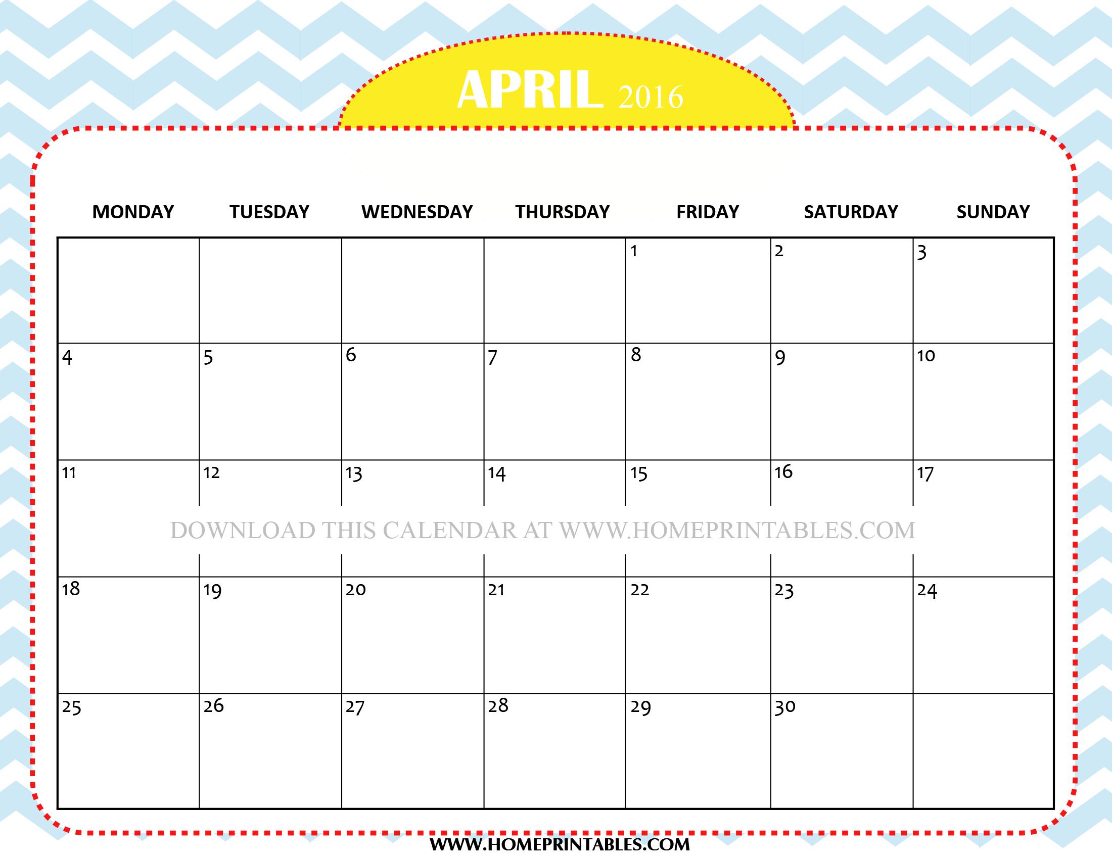 FREE CUTE APRIL 2016 CALENDAR