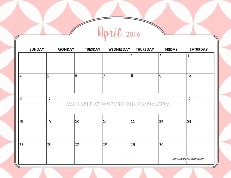 free April 2016 calendar PRETTY