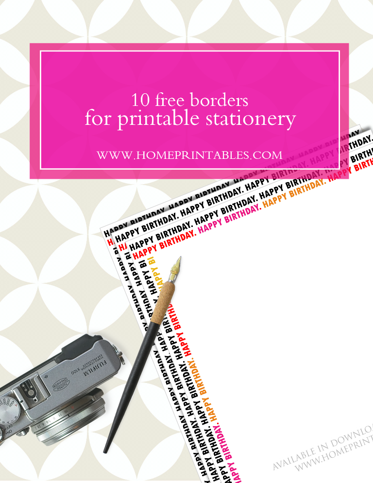 free borders for printable stationery