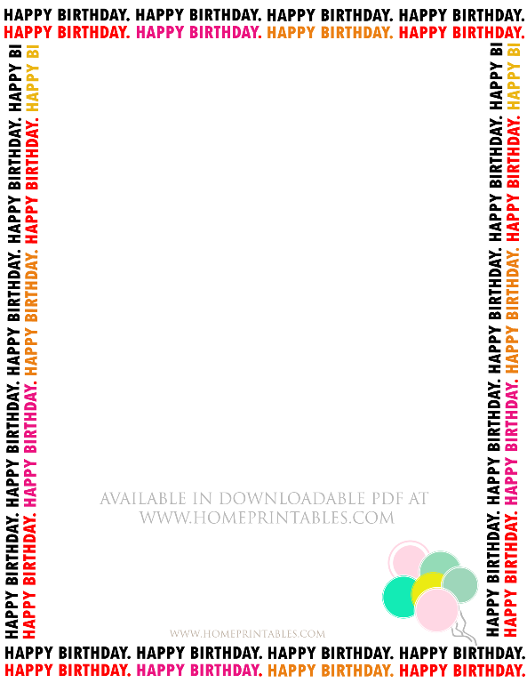 free happy birthday border for printable stationery