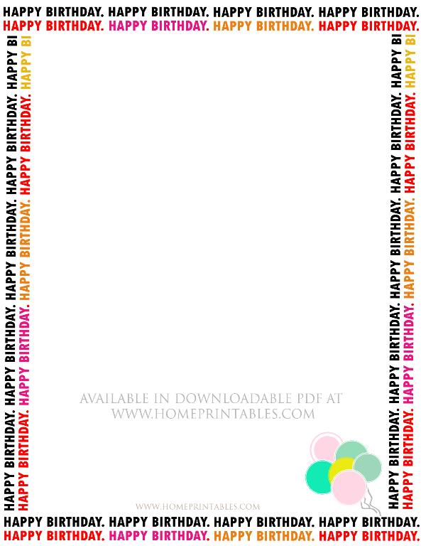 Free Happy Birthday Border For Printable Stationery