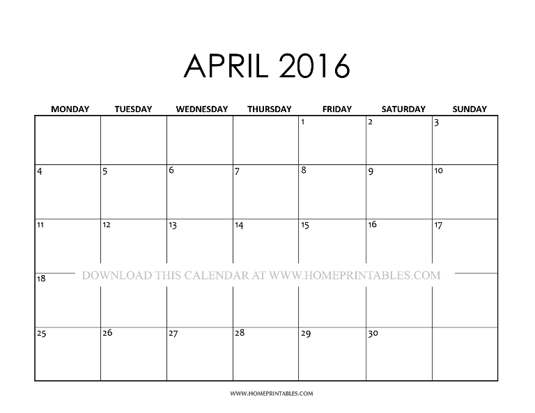 free printable April 2016 calendar template