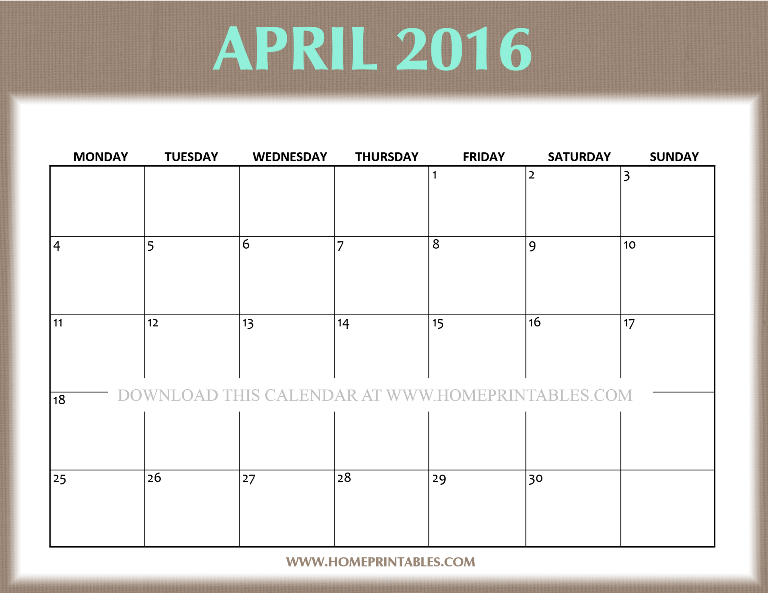 free printable April 2016 calendar via home printables