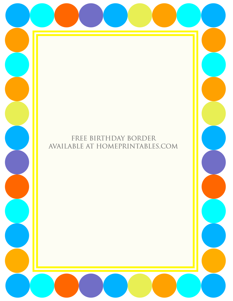 free border for birthday invitation