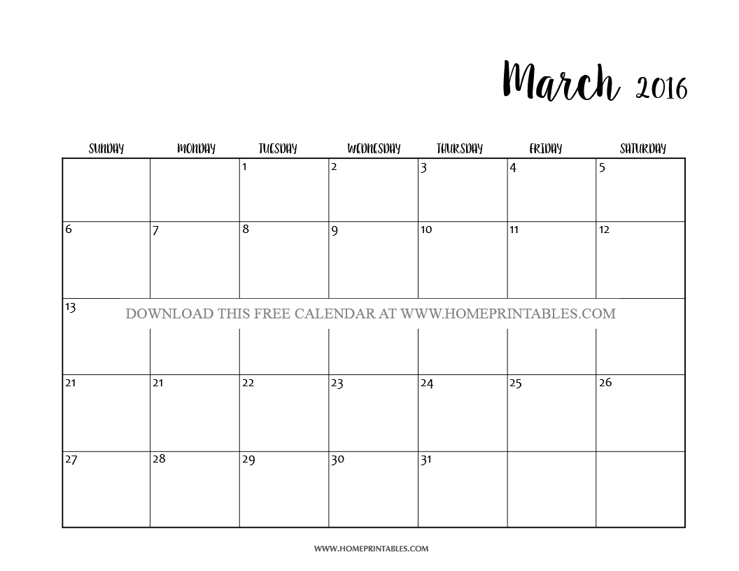 free printable march 2016 calendar 1
