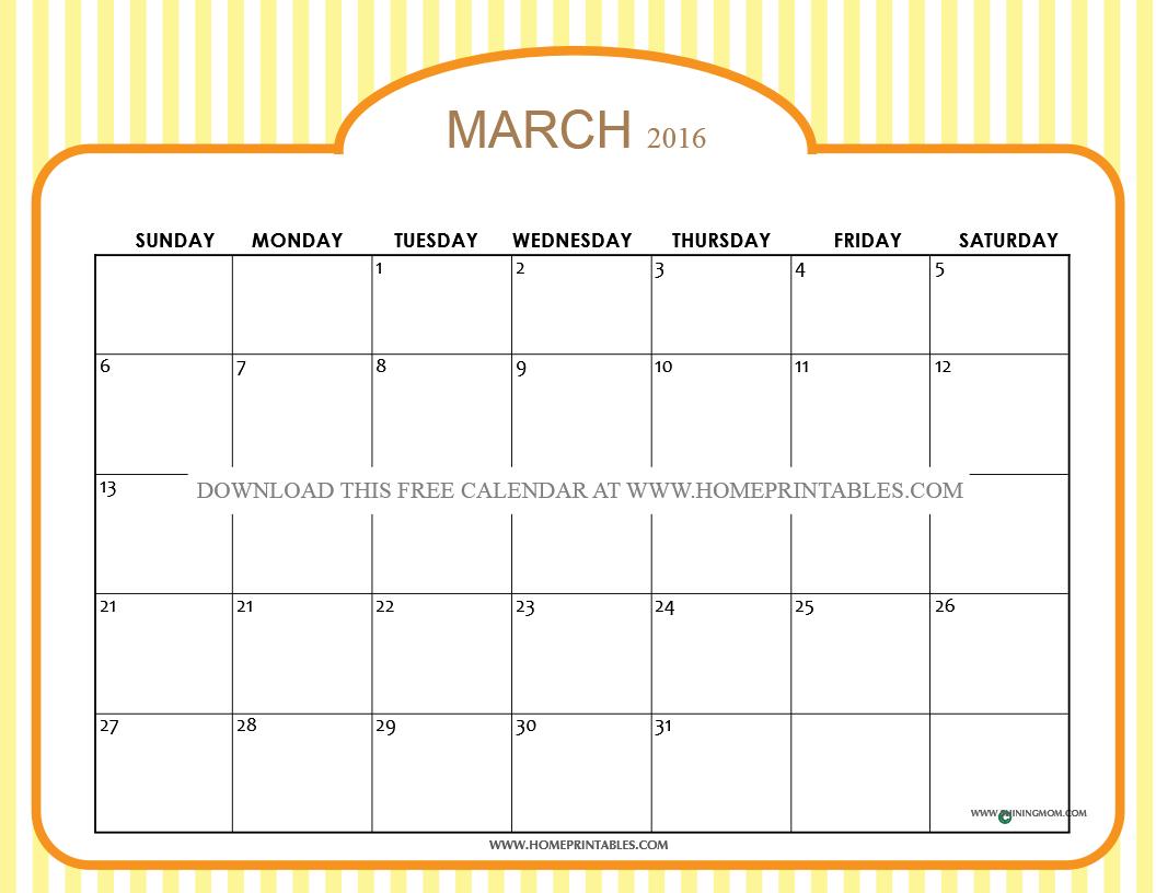 free printable march 2016 calendar 5