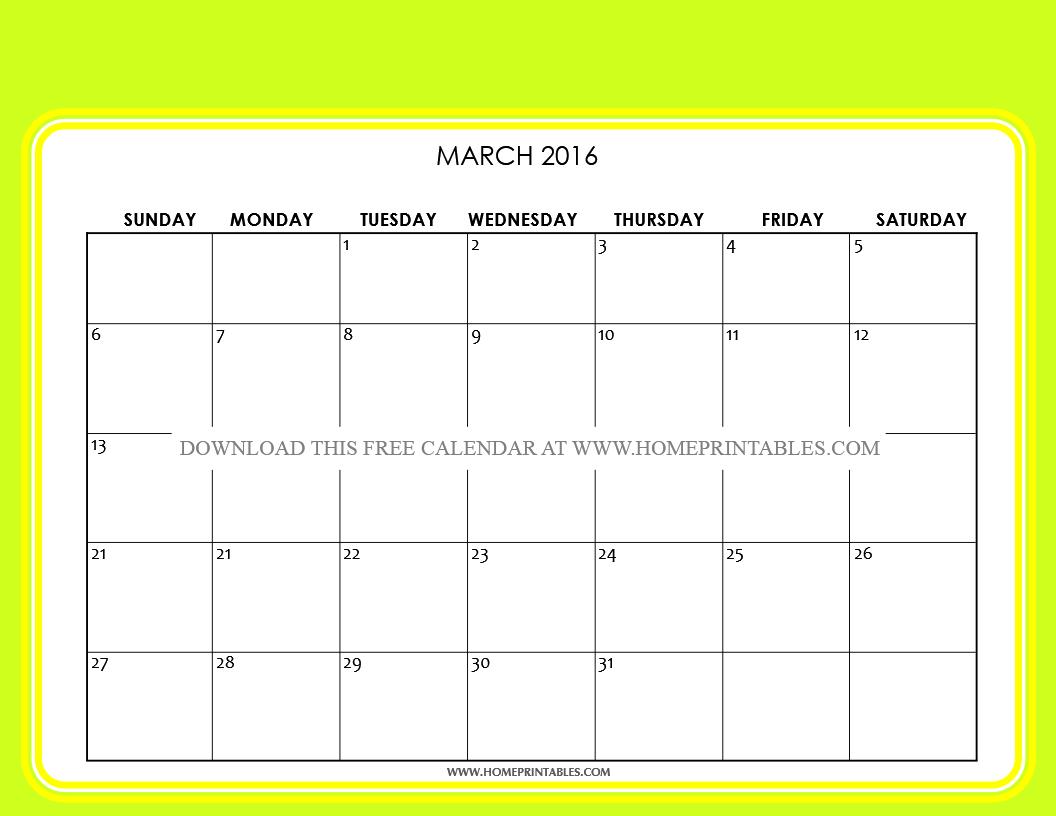 free printable march 2016 calendar 6