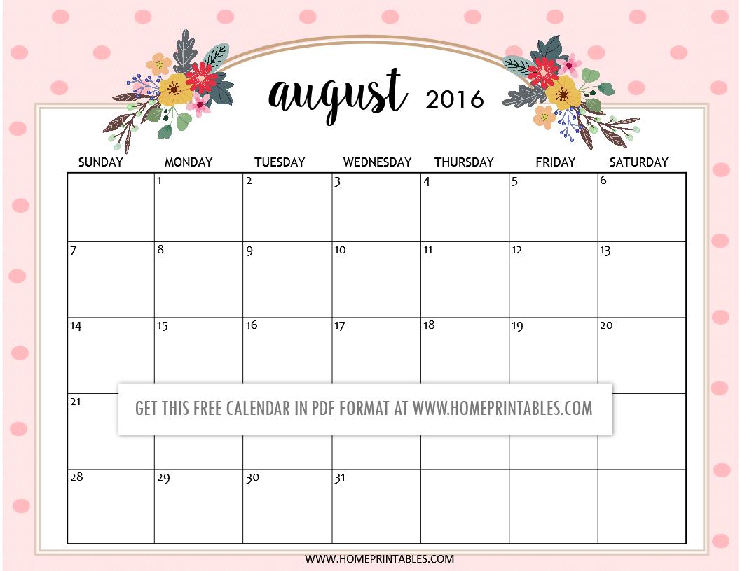 free printable August 2016 calendars