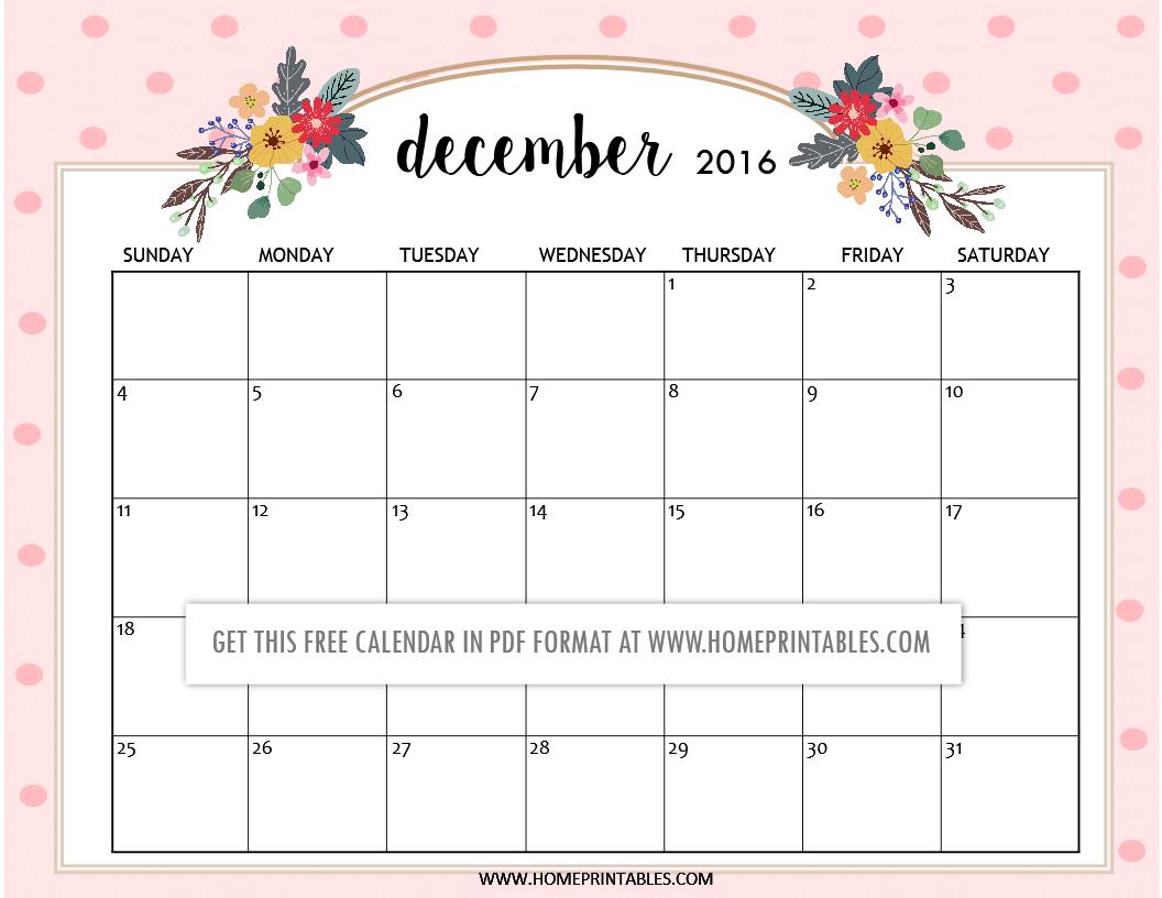 free printable December 2016 calendars