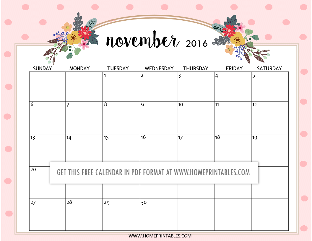 free printable November 2016 calendars