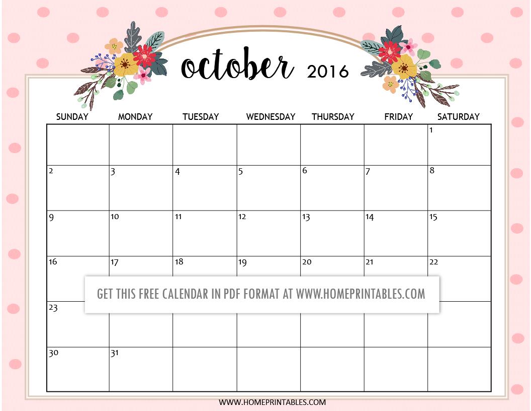 free printable October 2016 calendars