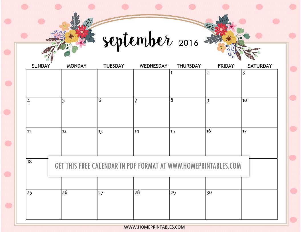 free printable September 2016 calendars