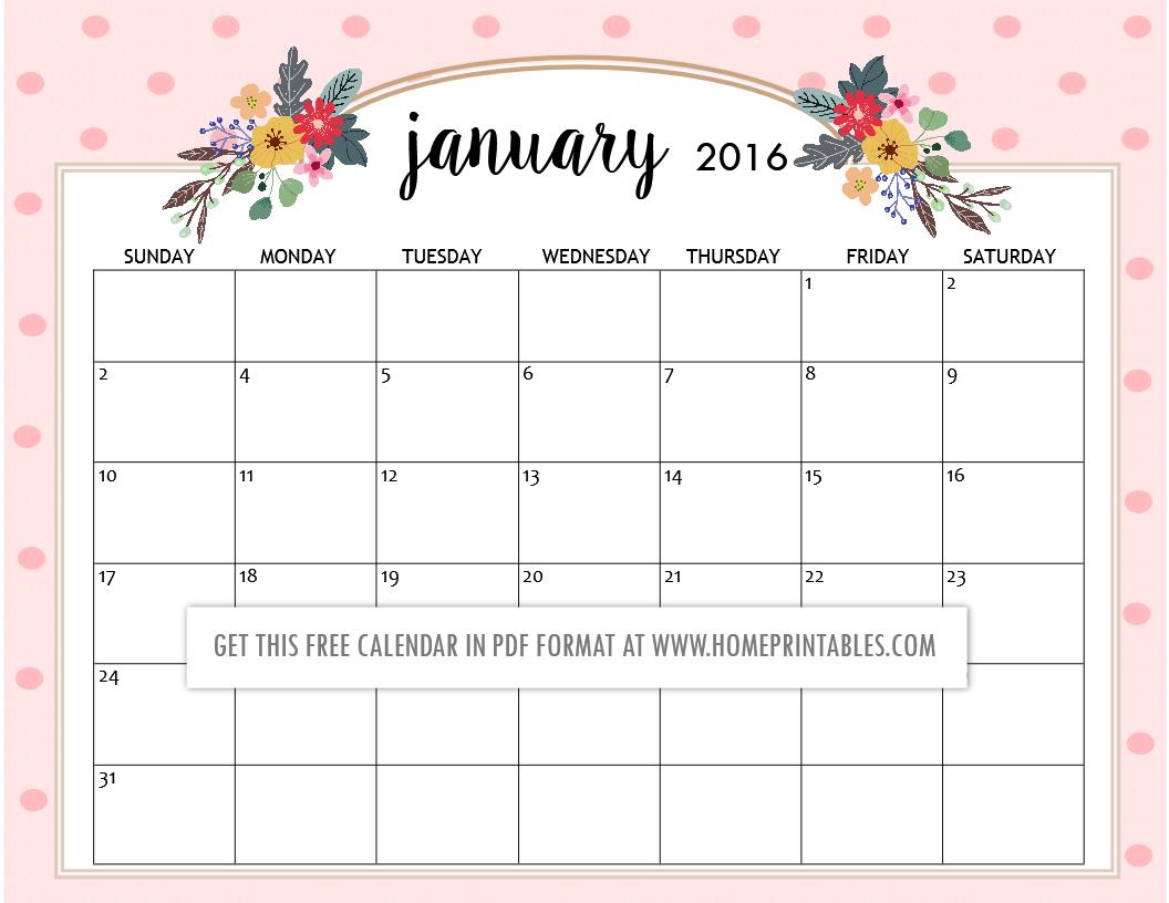Cute Free Printable 2016 Calendars - Home Printables