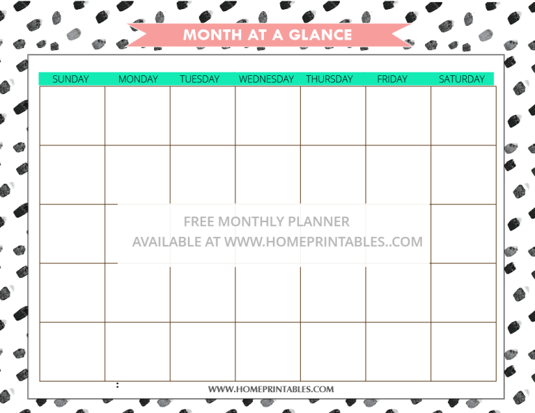 free printable monthly planner 1
