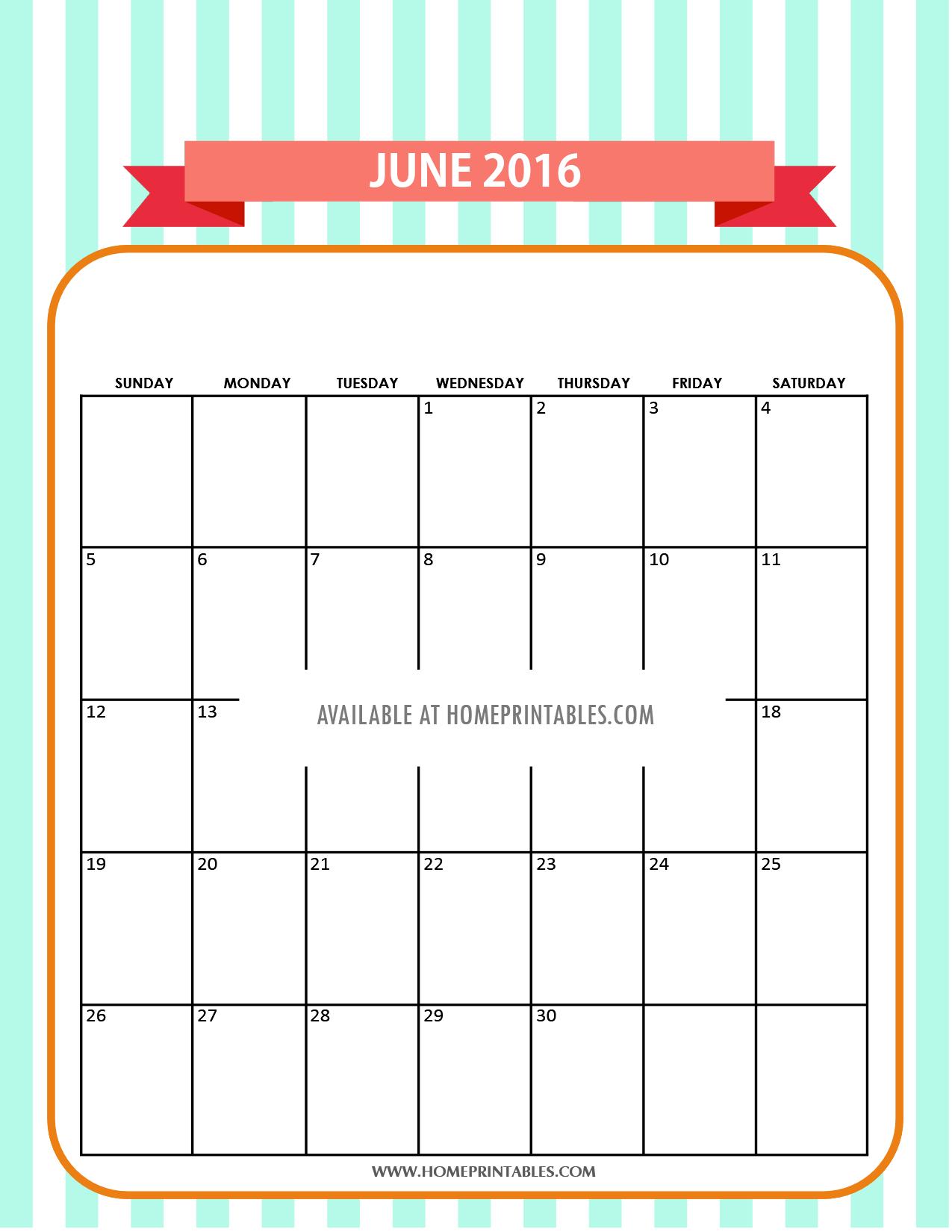 cute free printable June 2016 calendar