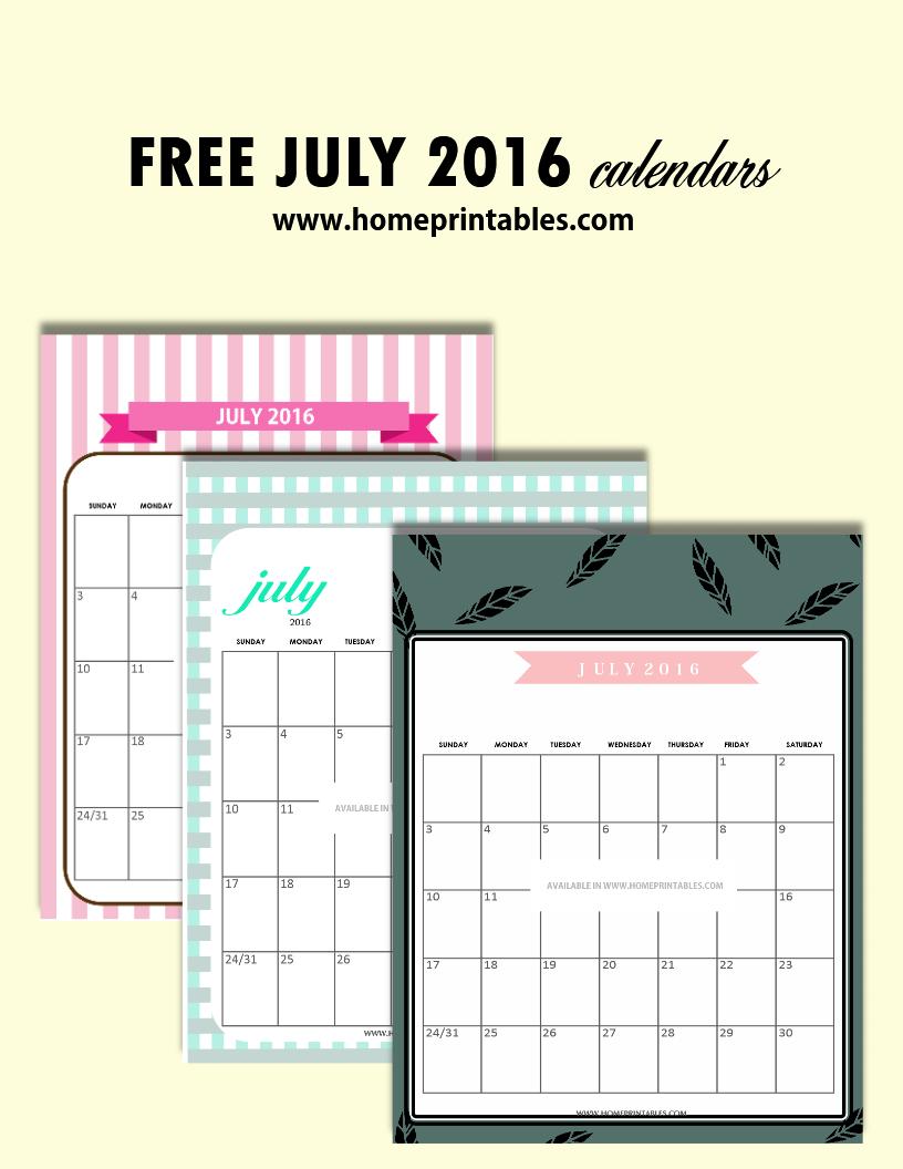 free printable July 2016 calendar