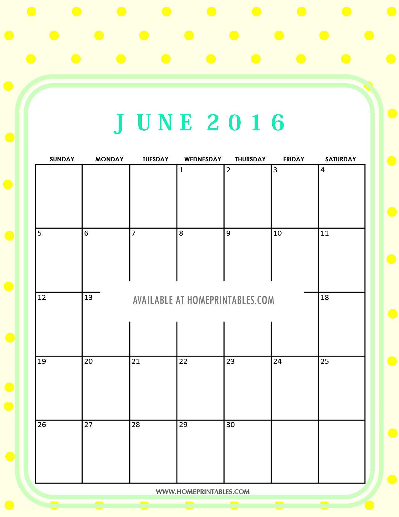 free printable June 2016 calendar 3
