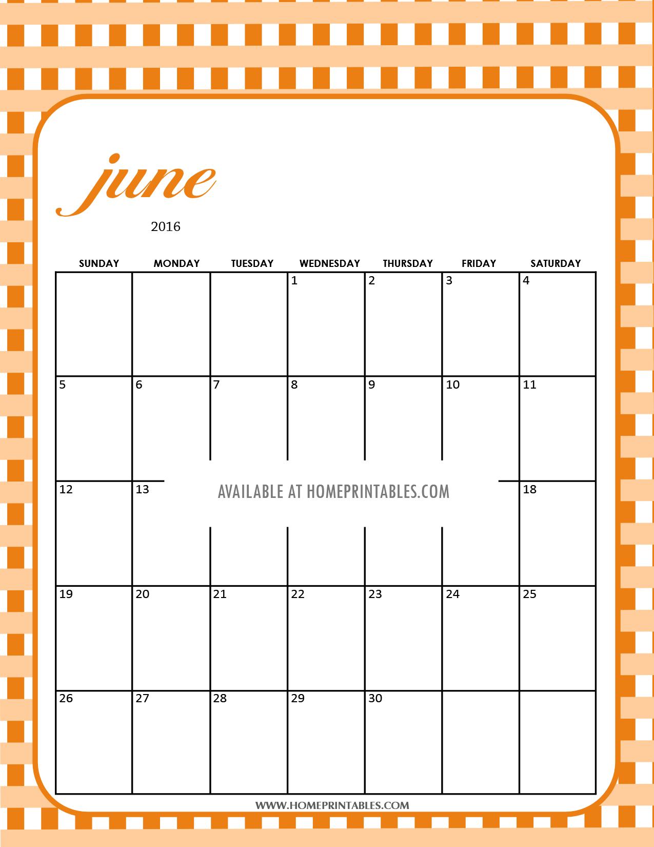 free printable June 2016 calendar plaid background