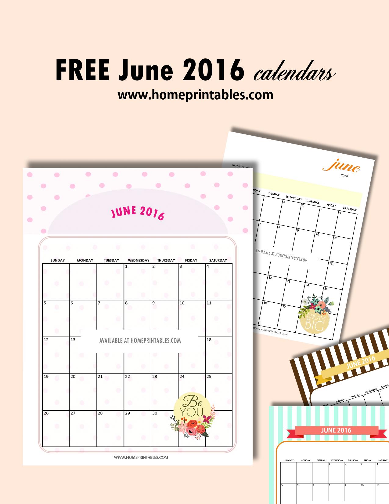 free printable June 2016 calendars