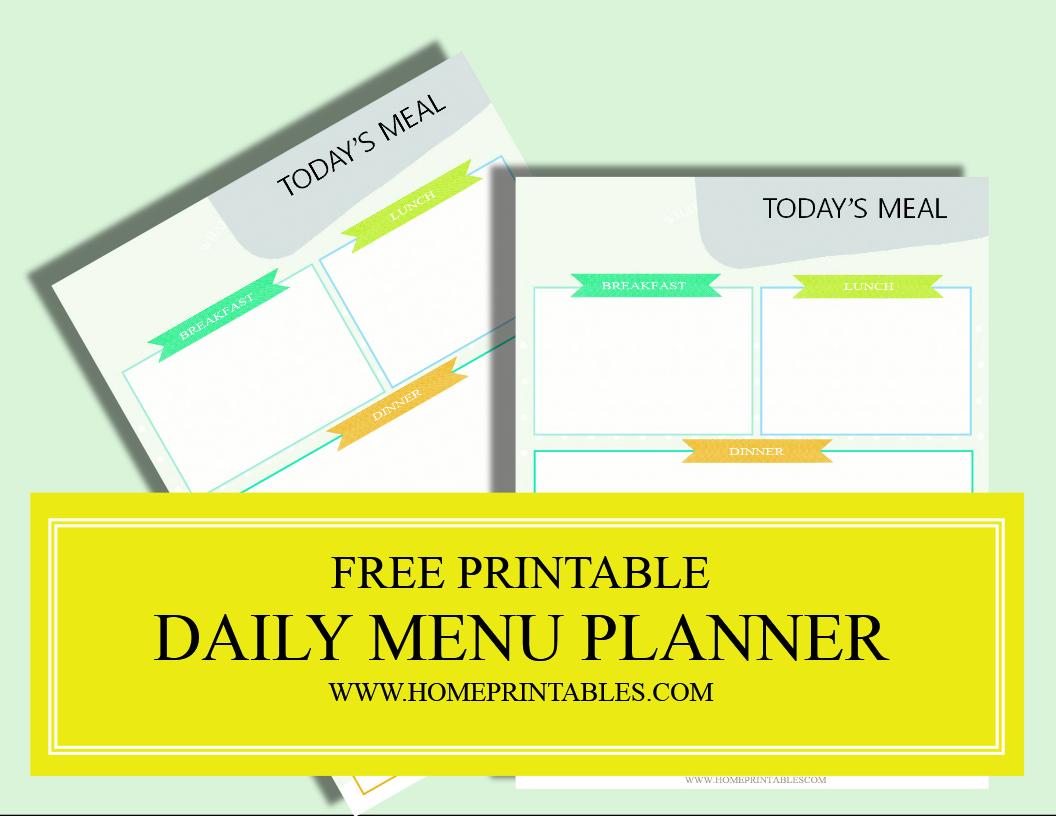 free printable daily menu planner