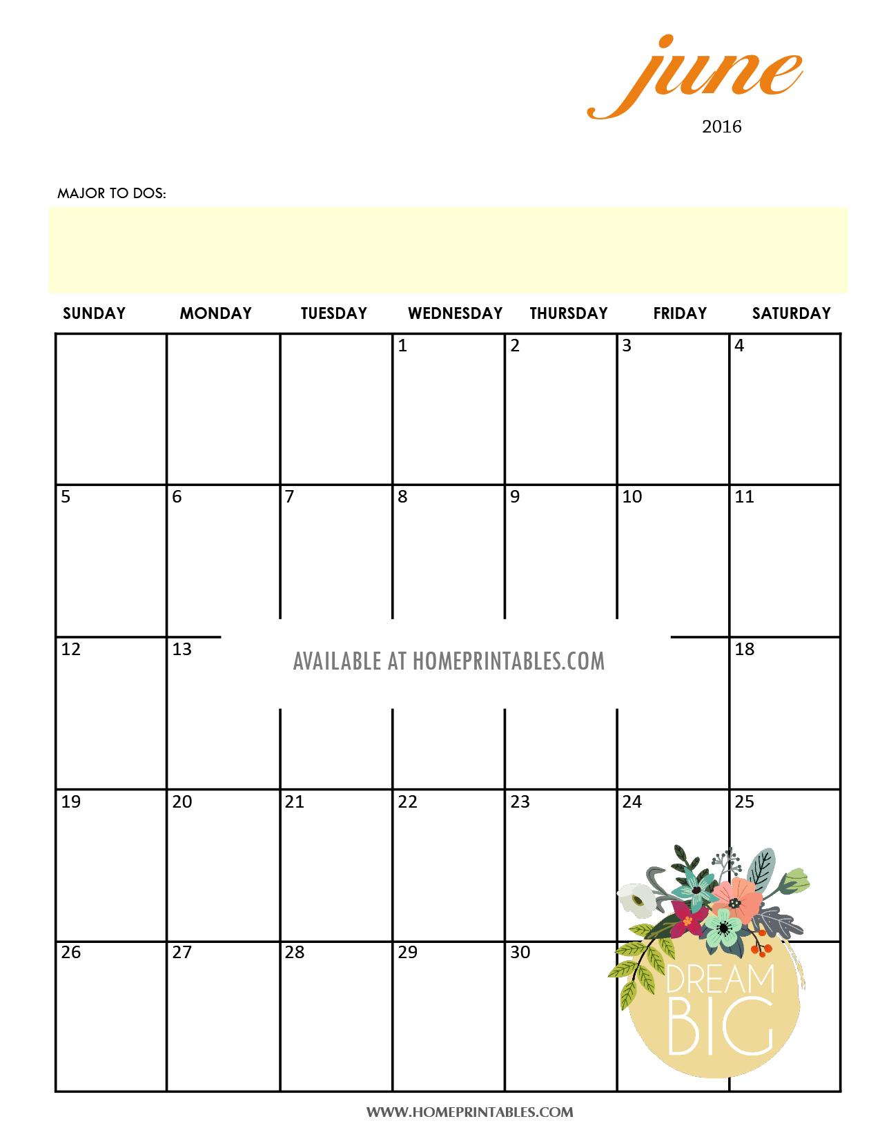 printable June 2016 calendar