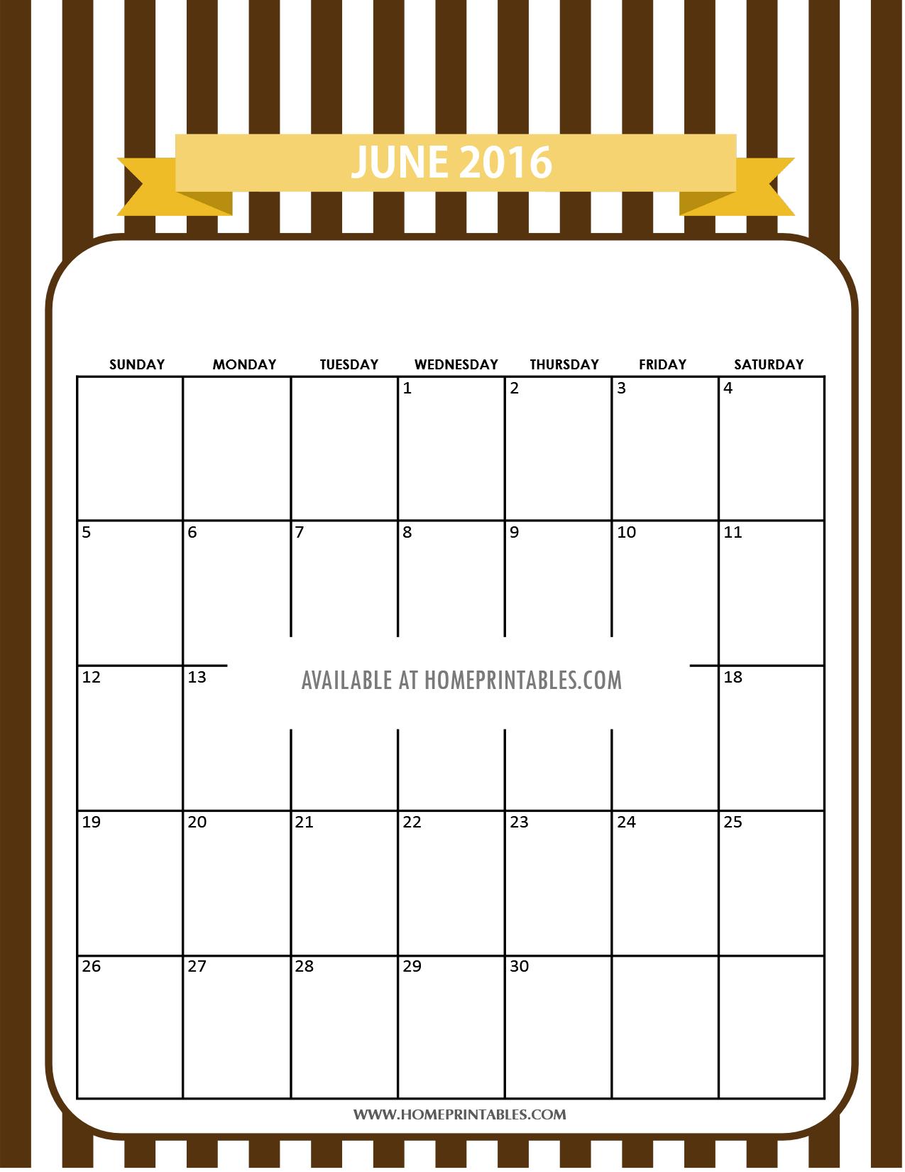 printable calendar for June 2016