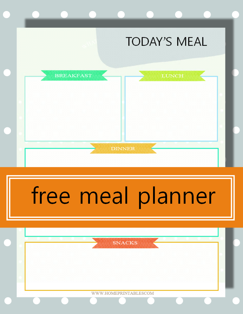 Get this free printable daily menu planner to to plan your meals each day!