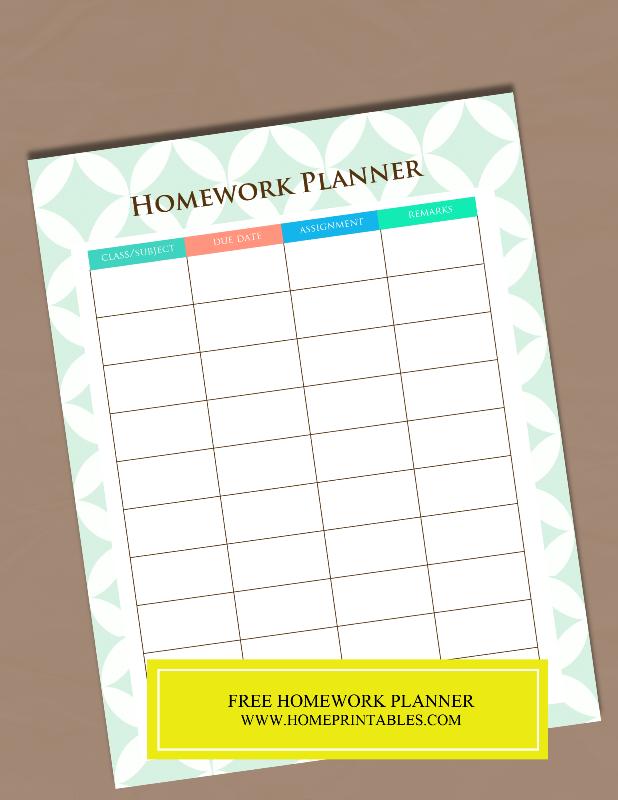 FREE HOMEWORK PLANNER 1