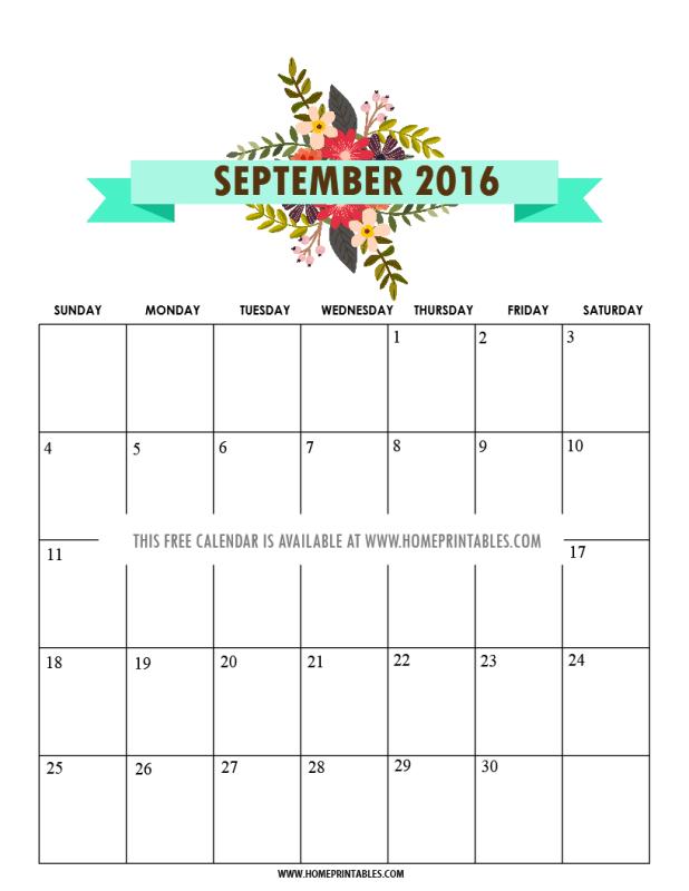 cute September 2016 calendar home printables