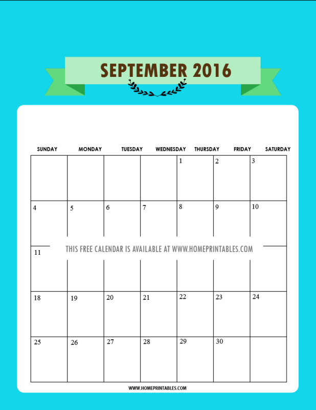 free August 2016 calendar in turqoise
