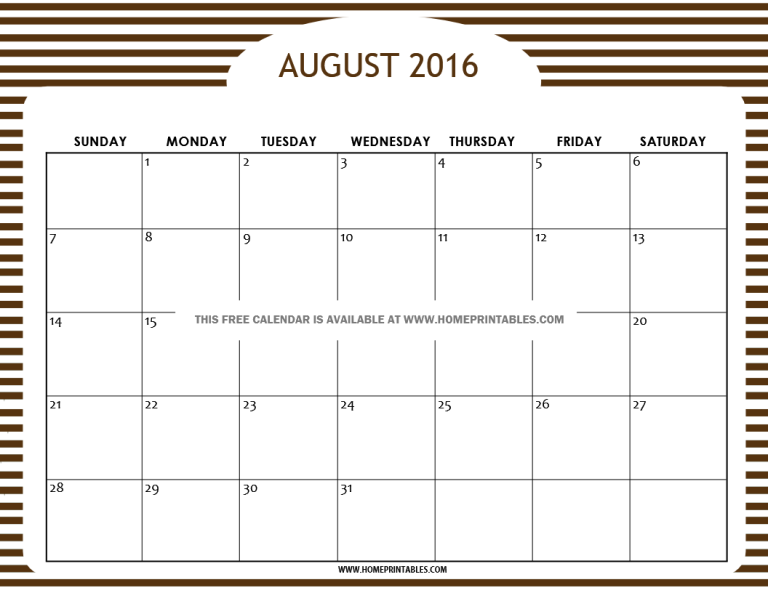 free August 2016 calendar v1