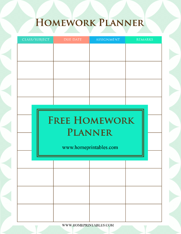 free homework planner