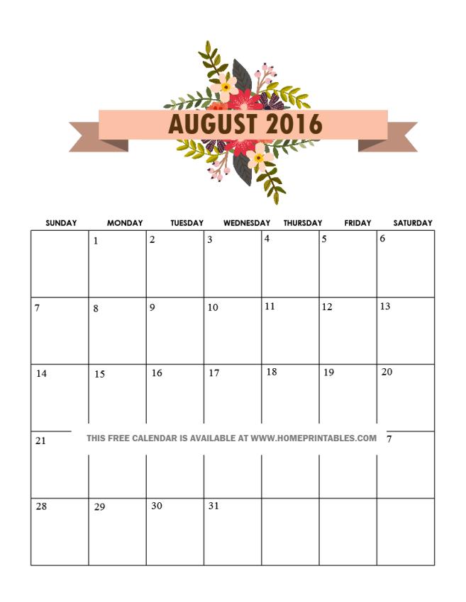 free pretty August 2016 calendar