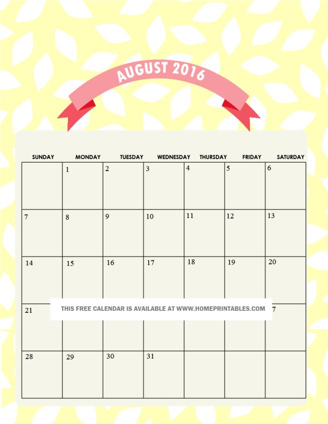 free printable August 2016 calendar 1