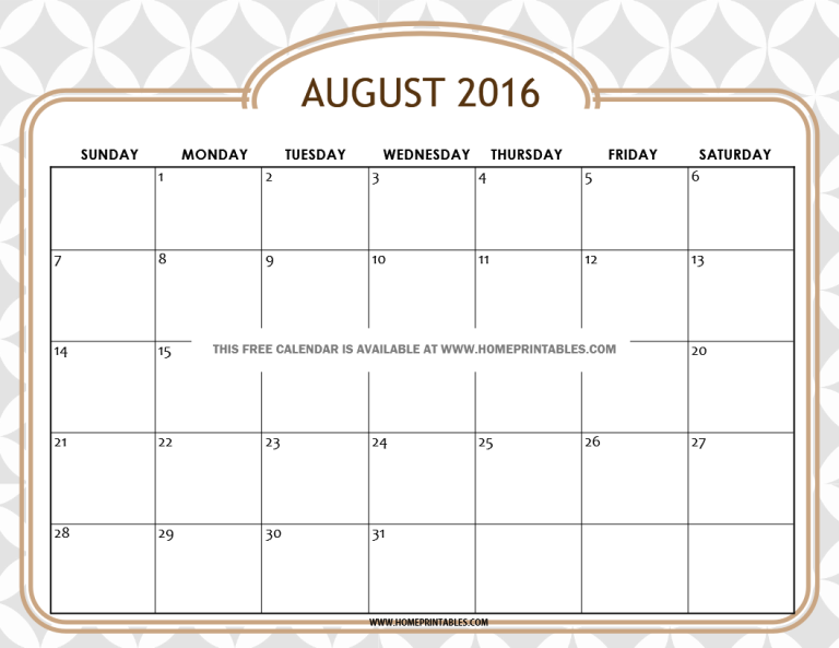 free printable August 2016 calendar chic