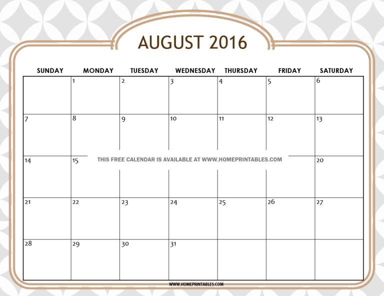 get your free printable august 2016 calendar home printables. Black Bedroom Furniture Sets. Home Design Ideas
