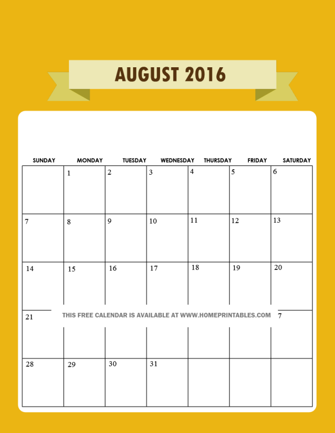 free printable August 2016 calendar colorful