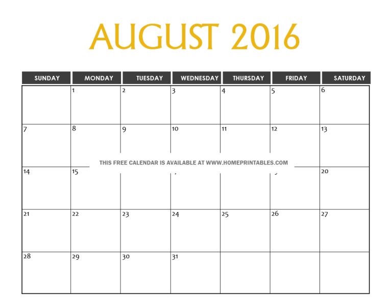 free printable August 2016 calendar home printables blog