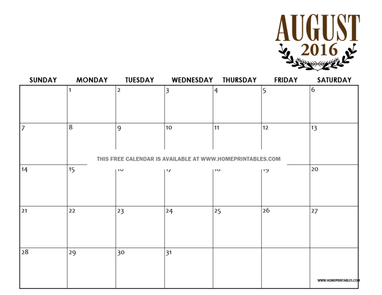 free printable August 2016 calendar template