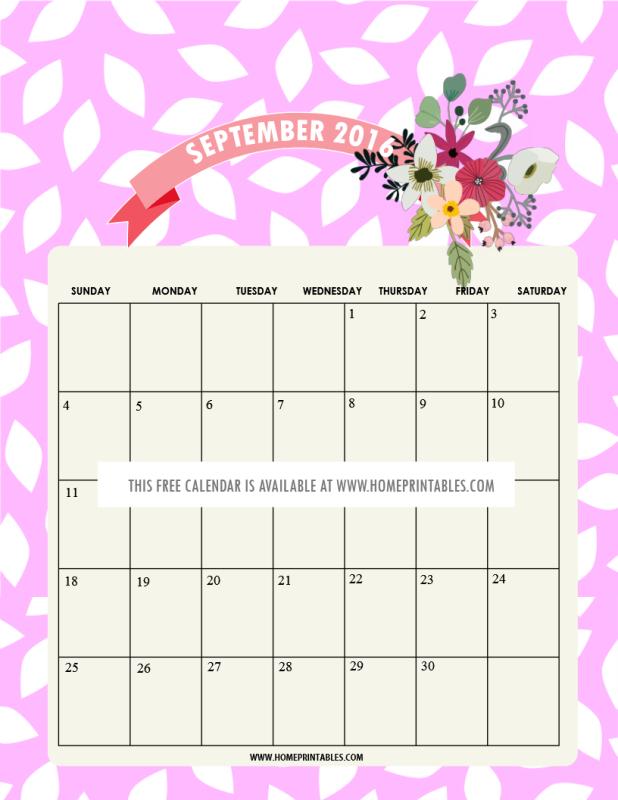 free printable September 2016 calendar v2