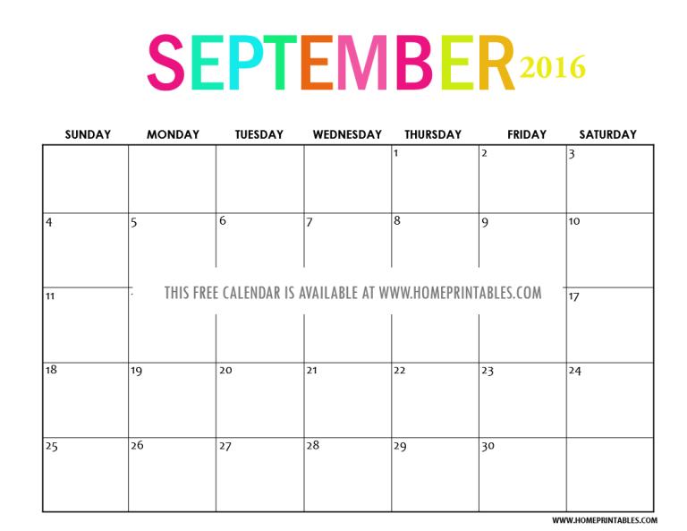 free printable September 2016 calendar