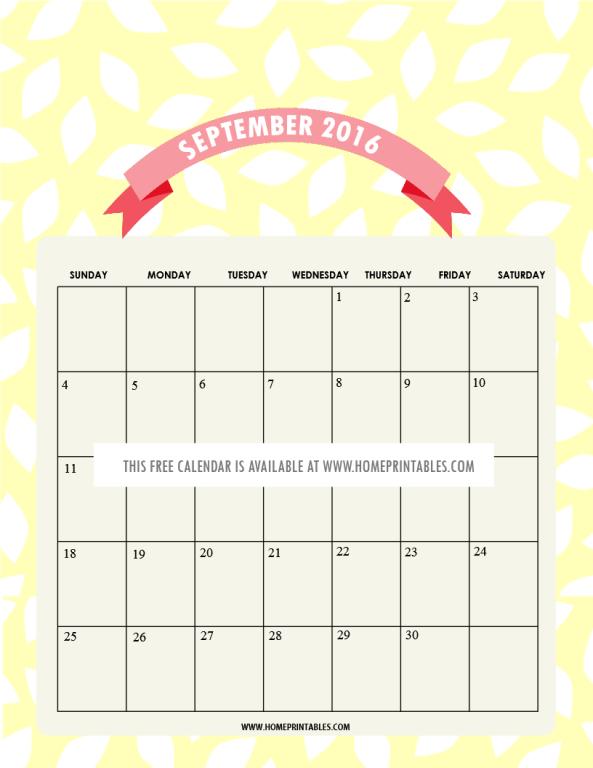 free printable September 2016 calendars ladies