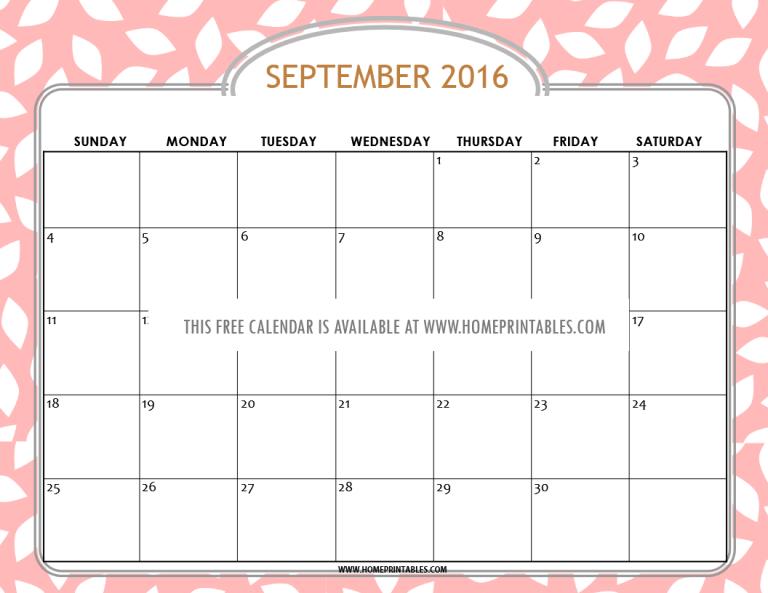 pretty free printable September 2016 calendar