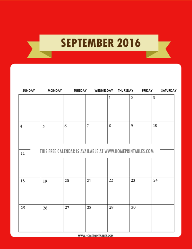 printable September 2016 calendar red
