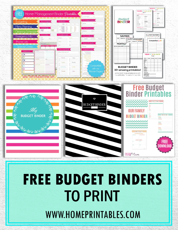 handpicked  10 free budget binders to print