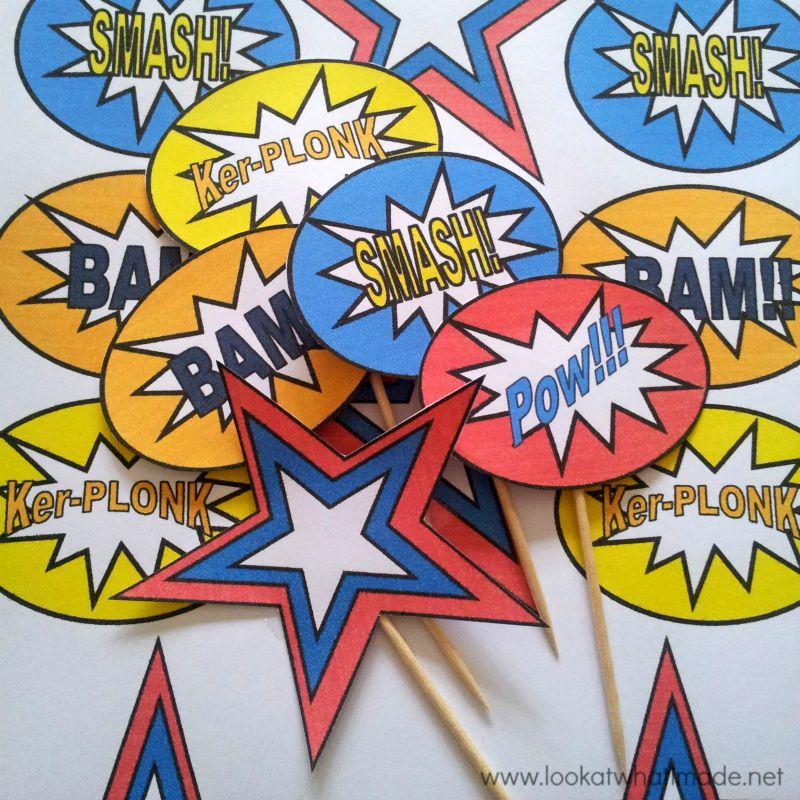DIY-Superhero-Pop-Art-Cupcake-Toppers-Printable