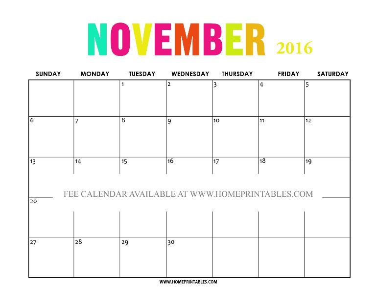 free printable November 2016 calendar