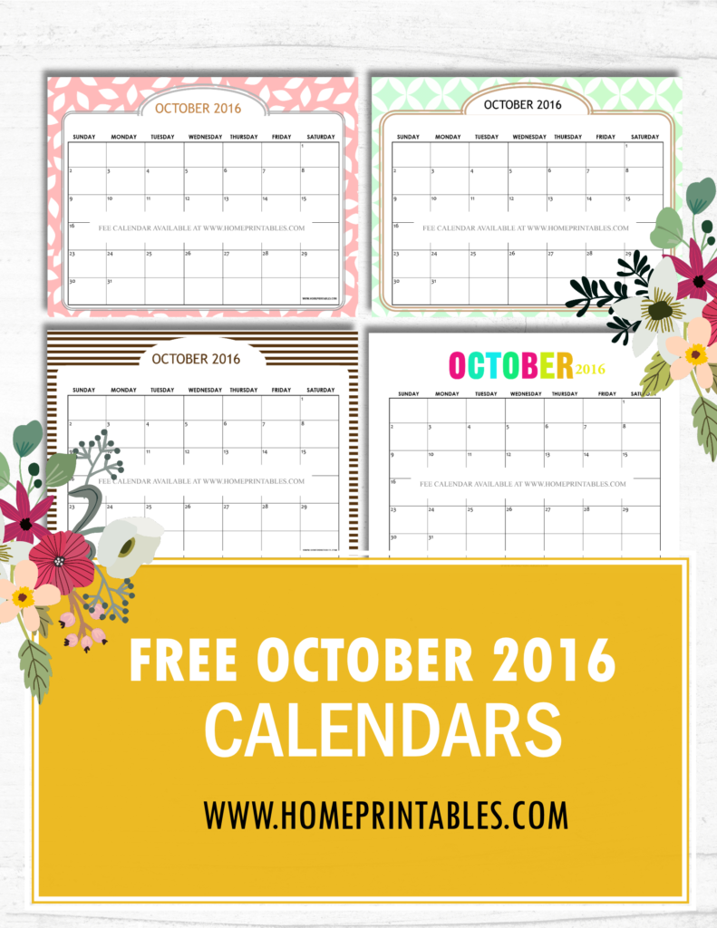 Cute Calendar October 2016 : Free printable october calendar cute designs home